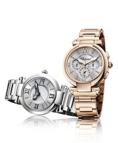Chopard 'Imperiale' in stainless steel (left) and rose gold automatic chronograph (right)