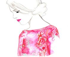 Rose Gold - watercolor and pen fashion illustration by Jessica Durrant