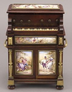 87: French enamel automated wood musical jewelry box : Lot 87