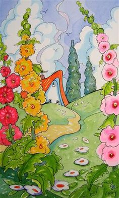 """In the Midst of Hollyhocks Storybook Cottage Series"" - Original Fine Art for Sale - © Alida Akers"