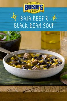 If you're craving black bean soup with a kick, this slow cooker recipe is for you. Crock Pot Soup, Slow Cooker Soup, Slow Cooker Recipes, Crockpot Recipes, Cooking Recipes, Healthy Recipes, Bean Soup Recipes, Chili Recipes, Mexican Food Recipes