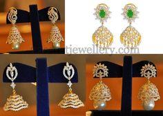 Jewellery Designs: Diamond Jhumkas Collection by Kothari's