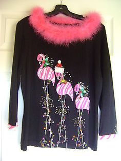 Berek Holiday Flamingo Sweater with Pink Fluff Collar Size XL Beaded Detail