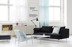 Gorgeous Designers Guild Linen fabrics available at Bemz. IKEA PS chair cover in Brera Lino Duck Egg and Söderhamn 3 seater sofa cover in Brera Lino Noir from Bemz. www.bemz.com