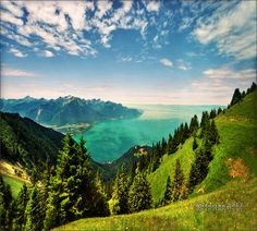 View from Rochers de Naye, mountain (2042 m) above Montreux, Switzerland