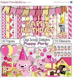 40% Off SALE Puppy Clip Art Party Digital Scrapbook Kit  in Pink and Yellow w Birthday for Digital Scrapbooking, Card Making