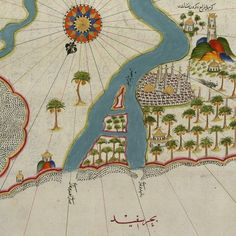 Map of the River Nile Estuary by Piri Reis, a century Ottoman Admiral famous for his maps and charts collected in his Kitab-ı Bahriye (Book of Navigation) Old Maps, Antique Maps, Vintage Prints, Vintage World Maps, Piri Reis Map, Venice Map, Image Theme, Printmaking, Ancient Artifacts