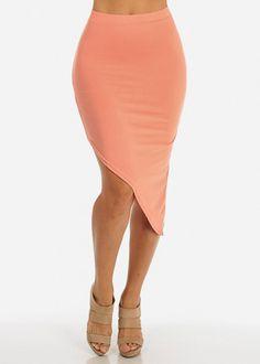 Peach Assymetrical Hem Midi Skirt