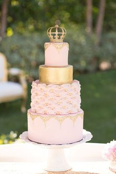 Elegant Gold with Crown Birthday Cake Images