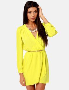 Vestido Neon Amarillo de manga larga de cuello V  16.19