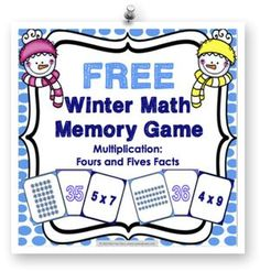 Winter FREE: This winter math game makes practicing fours and fives multiplication facts fun! Included are 45 memory cards for students to match the multiplication array, multiplication fact, and product. This is a perfect activity for small groups and centers during the winter season! Check it out at www.games4gains.com.