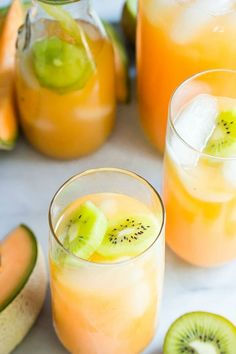 A refreshing summer agua fresco of cantaloupe melon and fresh kiwi