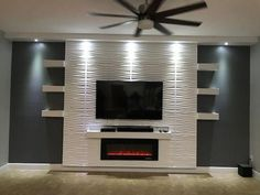 Recessed Electric Fireplace DIY Design Your Home with Confidence. Designed with front heating vent so that the unit can be f… – Decor – fireplace Fireplace Tv Wall, Fireplace Inserts, Fireplace Design, Fireplace Ideas, Tv Wall Design, House Design, Recessed Electric Fireplace, Electric Fireplaces, Modern Tv Wall Units