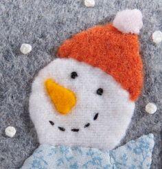 Handmade Christmas ornament flannel snowman by JennMaruskaDesign, $8.00