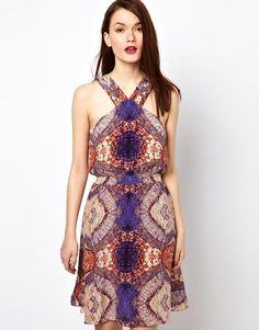 Warehouse Mosiac Tile Print Silk Dress