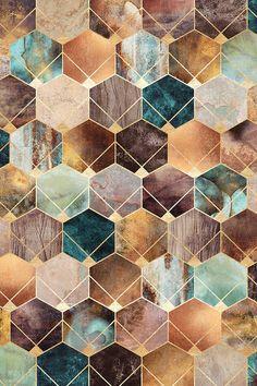 Natural Hexagons And Diamonds Canvas Art by Elisabeth Fredriksson Tile Patterns, Pattern Art, Textures Patterns, Cute Wallpapers, Wallpaper Backgrounds, Motif Art Deco, Graphisches Design, Canvas Art, Canvas Prints