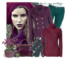 """Don't say goodbye"" by annabu ❤ liked on Polyvore featuring Sandro, Miu Miu, Dorothy Perkins, Theyskens' Theory, Garden Trading, skinny jeans, platform heels, turtleneck sweaters, jewel tones and purple"