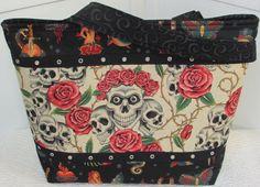 Skulls And Roses Large Tote Bag Antique Tea by Mokadesigntotes