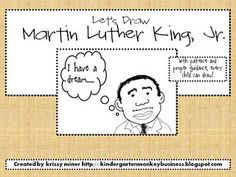 Let's Draw Martin Luther King, Jr. Free Printable from Mrs. Miner's Kindergarten Monkey Business