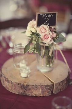best Ideas for wedding centerpieces rustic mason jars country table numbers Wood Slab Centerpiece, Wooden Centerpieces, Rustic Wedding Centerpieces, Wedding Table Numbers, Wedding Decorations, Table Decorations, Chalkboard Table Numbers, Best Wedding Colors, Wedding Cake Rustic
