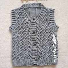 Görüntünün olası içeriği: çizgiler Crochet Baby Sweaters, Crochet Clothes, Knit Crochet, Baby Knitting Patterns, Knitting Stitches, Baby Boy Vest, Baby Boys, Crochet Sandals, Lana