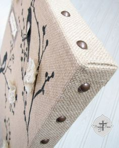 Michaels & Hometalk Pinterest Party: DIY Stenciled Burlap Canvas Art Tutorial via Prodigal Pieces