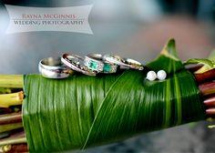 Ring Shot with Wedding Bouquet   http://www.raynamcginnisphotography.com/colorado-wedding-photography-pine-lower-lake-ranch/  Emerald Wedding Ring, Green Wedding Band