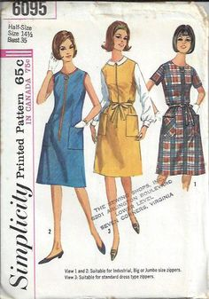 1960s Misses Front Zip ALine Dress or by DawnsDesignBoutique, $11.99