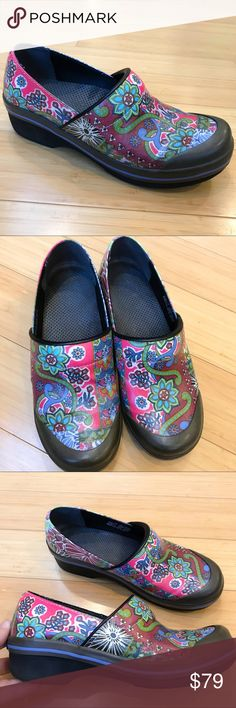 DANSKO waterproof patchwork clogs, 38 Cutest Dansko's ever! Volley Coated Canvas Blue Patchwork Dansko clogs, size 38. Waterproof, nearly new condition. Comes with box. Dansko Shoes Mules & Clogs