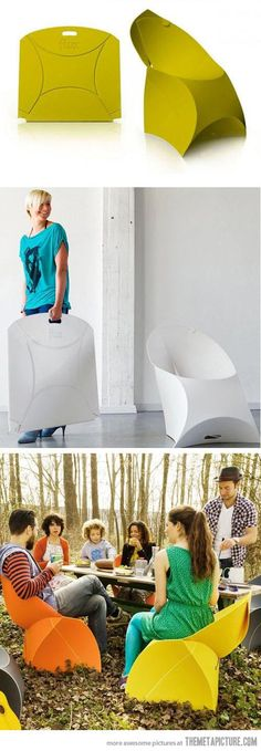 Flux Origami Chair: folds flat for easy storage…