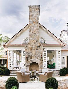 Existing Carport with Fireplace and patio Outdoor Rooms, Outdoor Living, Indoor Outdoor, Outdoor Stone, Outdoor Patios, Outdoor Kitchens, Outdoor Landscaping, Design Exterior, Design Apartment