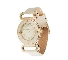 Isaac Mizrahi Live! Vintage Dial Leather Strap Watch