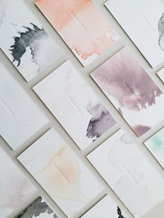 Watercolour and blind impression letterpress business cards - satsuki shibuya