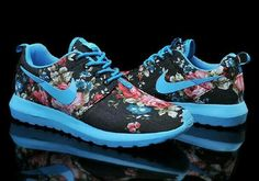 the latest 1a39b b3f9f Nike Roshe Run Floral Fabric Flash Blue Black Pink Shoes by Jimmy Jonson