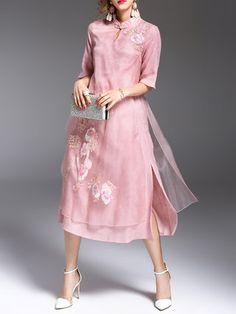 Silk Half Sleeve Slit Embroidered Midi Dress