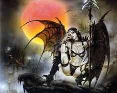 Black Tinkerbell Stretched Canvas Print by Luis Royo Fantasy Art Angel Fairy Dark Fantasy Art, Fantasy Artwork, Fantasy Anime, World Of Fantasy, Fantasy Women, Fantasy Girl, Dark Art, Vampires, Poster S