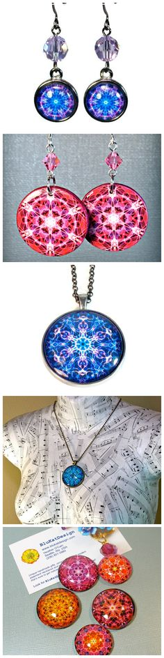 Mandala art jewelry, necklaces, earrings, magnets, gifts Click now to see more ORIGINAL mandalas->  http://etsy.me/179EA9v