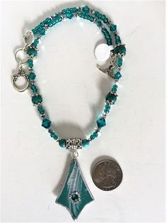 Necklace Set in Teal and Silver with Swarovski Crystals by MartinArtandBeads on Etsy