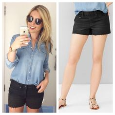 """GAP 1969 slim denim shorts Black cutoff denim shorts from gap. 3"""" inseam. EUC! Maybe worn once. They are petite so great for anyone short. Washed black is the color. GAP Shorts Jean Shorts"""