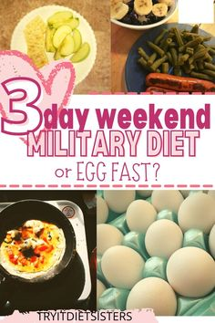 I looked into the military diet and egg fast for a weekend weight loss. The key to either one is that you have to stick with it for the full three days in order to see results. I'm not sure which one I would do again because they both had good points and bad ones. Give them each a try and find out what works best for you! Diet Plans To Lose Weight Fast, Lose Weight At Home, How To Lose Weight Fast, Healthy Fats, Healthy Weight, 3 Day Diet, Egg Fast, Different Diets, Military Diet