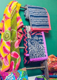 """Vintage Kantha Quilt by SoulMakes - $98.00 - 58"""" x 88"""""""