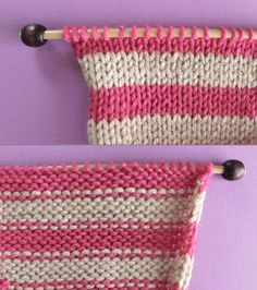 Right and Wrong Sides of Stockinette Knit Stitch Pattern with Stripes. How to Remove Purl Dash Lines - Knit Stripes with Studio Knit