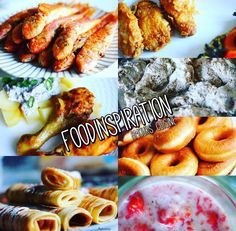 Fish, donuts, strawberries with milk, pancakes, chicken with patoetoes & creme fraiche/mushroom sauce, kfc chicken.