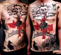 Incredible artistic and realistic tattoos! - Taringa! Tattoo Trash, Trash Polka Tattoo, Red Tattoos, Cool Tattoos, Tatoos, Buena Vista Tattoo, Dynamic Tattoo, Punk Tattoo, Club Tattoo