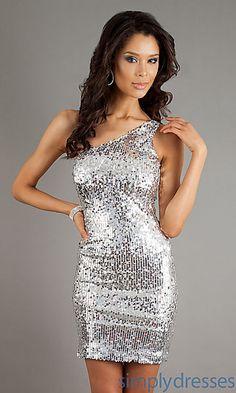 Vegas ? One Shoulder Sequin Short Dress at SimplyDresses.com