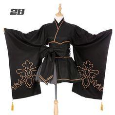 Hot Game NieR:Automata Black Kimono Cosplay Costume Women Dress D(China) Kawaii Fashion, Lolita Fashion, Cute Fashion, Japan Fashion, Old Fashion Dresses, Kimono Fashion, Fashion Outfits, Fashion Heels, Cosplay Outfits