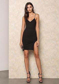 V neck black dress heels