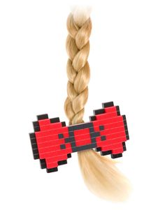8-Bit hair bow, super cute!    I wonder if I can somehow figure out how to make this!