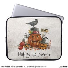 Halloween Black Bird and Pumpkins Laptop Sleeve Neoprene Laptop Sleeve, Laptop Sleeves, Crows Ravens, Custom Laptop, Best Laptops, Front Bottoms, Personalized Products, Pumpkins, Happy Halloween