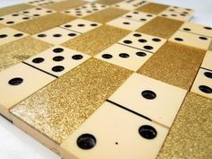 A complete set of 28 vintage cream colored dominoes with a gold glitter back. Use for altered art, jewelry, assemblage, game playing and much more. Dinner Party Games, Tiles Game, Game Pieces, Craft Storage, Honeycomb, Display Ideas, Altered Art, Gold Glitter, Games To Play